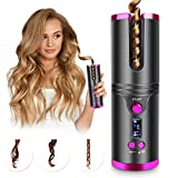 Cordless Hair Curler, Automatic Hair Curling Iron, Heatless Hair Rotating Curler with 3 Temperature & Timer Settings, Portable Rechargeable Rotating Ceramic Barrel Curling Wand Fast Heating