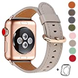 HUAFIY Compatible for Apple Watch Band 38mm 40mm, Top Grain Leather Band Replacement Strap iWatch Series 5, Series 4,Series 3,Series 2,Series 1,Sport, Edition (Khaki Grey+Rose Gold, 38mm40mm)