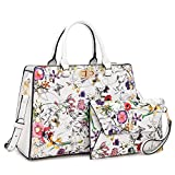 Dasein Purses and Handbags for Women Satchel Bags Top Handle Shoulder Bag Work Tote Bag With Matching Wallet (White Flower)