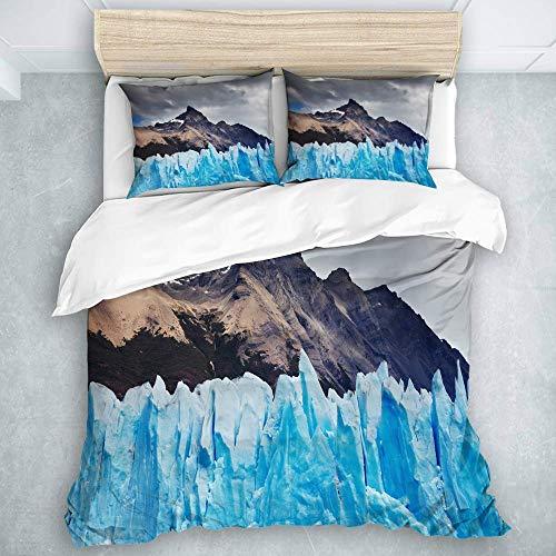 Bdppood Zestaw pościeli - poszewka na kołdrę, Perito Moreno Glacier Argentyna Jezioro Patagonia Argentyna, dla dzieci dziewczynek 3 sztuki