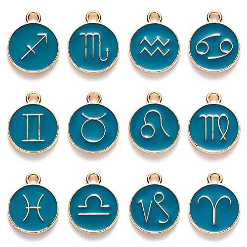 PandaHall Colgantes redondos de esmalte del alfabeto para collar y pulsera, Esmalte,