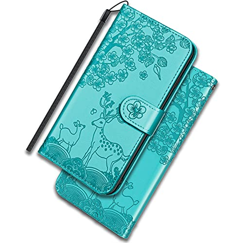 ONETHEFUL Xiaomi Poco X3 NFC/Pro Funda Cartera Carcasa Flip Cover Libro Case Fundas Venado Sika Protectoras de Piel Sintética para el Teléfono Xiaomi Poco X3 NFC/Pro Azul Claro