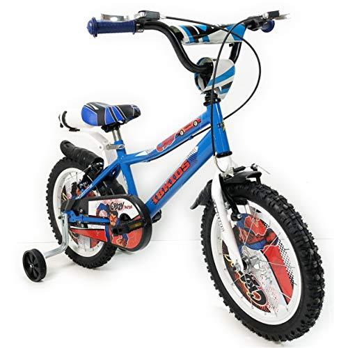 "IBK Bici Bicicletta Bimbo 16"" Pollici Crazy Blu Bianco su Sfera Raggi Regolabili Freni V-Brake (Blu)"