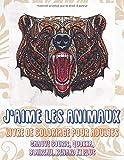 J'aime les animaux - Livre de coloriage pour adultes - Chauve souris, Quokka, Blaireau, Renard et plus 🐼 🐫 🐵 🐘 🐒 🐨 🐦 (French Edition)