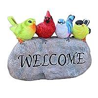 ウェルカムプレート ようこそサイン置物動物樹脂ガーデン歓迎彫像楽しい鳥ミニチュア像用ショップヴィラヤード装飾 ウェルカム 飾り (Color : C1, Size : As shown)