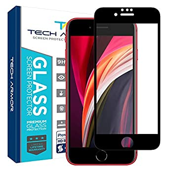 Tech Armor Edge to Edge Glass Screen Protector for Apple iPhone SE 2020 / iPhone 8 / iPhone 7 - Case-Friendly Tempered Glass 3D Touch Accurate  Black  [1-Pack]