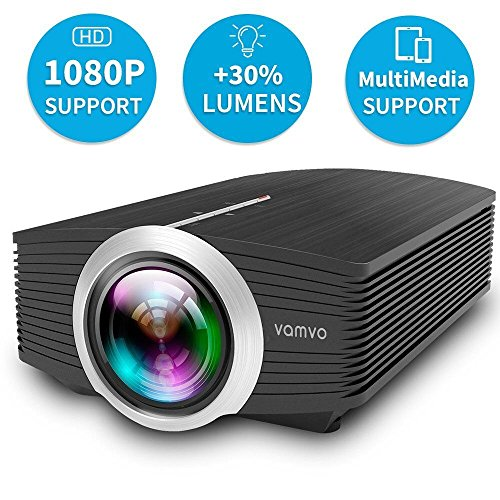Vamvo Projector 1800 Lumens 1080P Mini Portable LED Projector Support Laptop/Smartphone/iPad/TV by HDMI/VGA/SD/USB/AV Input