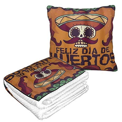 XINGAKA Manta de Viaje súper Suave,Dead Day Dia Muertos Halloween Mexican Skull,Manta Plegable,Almohada cómoda