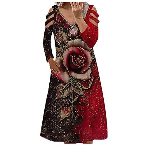 Dasongff Sommerkleider Damen Blumen Maxikleid Bohemian A-Linie Lang Kleider Knielang Sommerkleid Partykleid Reißverschluss V-Ausschnitt...