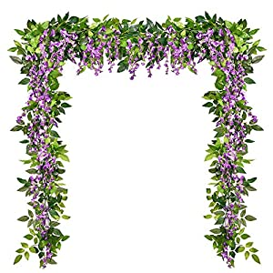 Dolicer 4Pcs 6.6Feet Artificial Flowers Silk Wisteria Garland Artificial Wisteria Vine Rattan Silk Hanging Flower for Home Garden Outdoor Ceremony Wedding Arch Floral Decor, Purplish Red