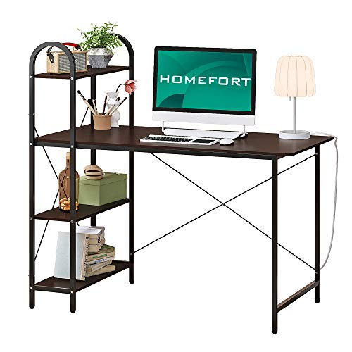 HOMEFORT Computer Desk, Study Writing Desk with Shelves, Multipurpose Home Office Workstation, Student Desk with 4-Tier Wood Bookshelf, Modern Wood PC Table with X Frame (Black)