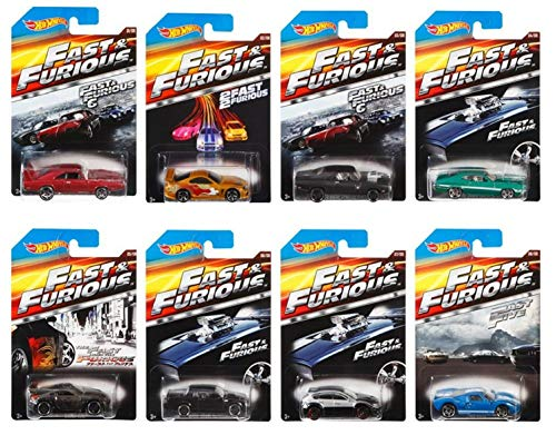 Hot Wheels 2014 Fast & Furious 8 Car Set - Includes: \'69 Dodge Charger Daytona/\'94 Toyota Supra/\'70 Dodge Charger R/t/\'72 Ford Grand Torino Sport/Nissan 350Z/Buick Grand National/Ford GT-40/Subaru WRX STI by Hot Wheels