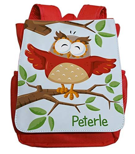 personalisierter Kindergartenrucksack | Motiv Eule Uhu & AST | Kleiner Kinderrucksack mit vielen Taschen inkl. Wunschname | gut passend für Kita- und Kindergartenkinder von 2-5 Jahre (rot)