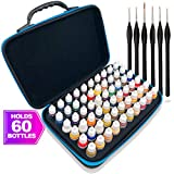 Pixiss Model Paint Storage Case Acrylic Paint Organizer Holder Tray Works with Top Hobby Paint Brands, Paint Rack or Paint Holder 60 Slots with 6 Fine Detail Miniatures Paint Brushes