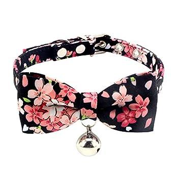 Collier pour chat Handfly avec nœud papillon, motif floral, réglable avec clochette et boucle, collier pour chat pour petits chiens, chiots et chats XS/S/M