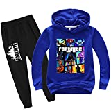 Youth Fashion Games Pullover Hoodie Suit for Boys Girls 2 Piece Outfit Fashion Sweatshirt Set Blue