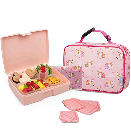 Bentology Lunch Bag and Box Set for Girls - Includes Insulated Sleeve with Handle, Bento Box, 5 Containers and Ice Pack - Unicorn