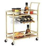 JBBCN Wine Bar Serving Cart for Home, Wine Trolley Rolling Bar Cart with Wheels, Handle, Metal Wood Wine Rack Storage, Glass Bottle Holder for Kitchen, Club, Living Room, Bar,Restaurant