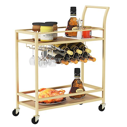 Wine Bar Serving Cart for Home, Wine Trolley Rolling Bar Cart with Wheels, Handle, Metal Wood Wine Rack Storage, Glass Bottle Holder for Kitchen, Club, Living Room, Bar,Restaurant