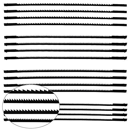 16 Pezzi lame per seghetto oscillante 10/15/18/24 Lame da Traforo Standard a Taglio Fine con Pernetto Trasversale per Segare Legno Plastica Schiuma Metalli Teneri - 127mm