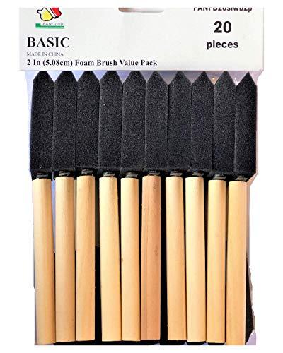 PANCLUB pintura cepillo de la espuma value pack 2 pulgadas - paquete de 20 | con mangos de madera | grande para el arte, barnices, acrílicos, manchas, crafts