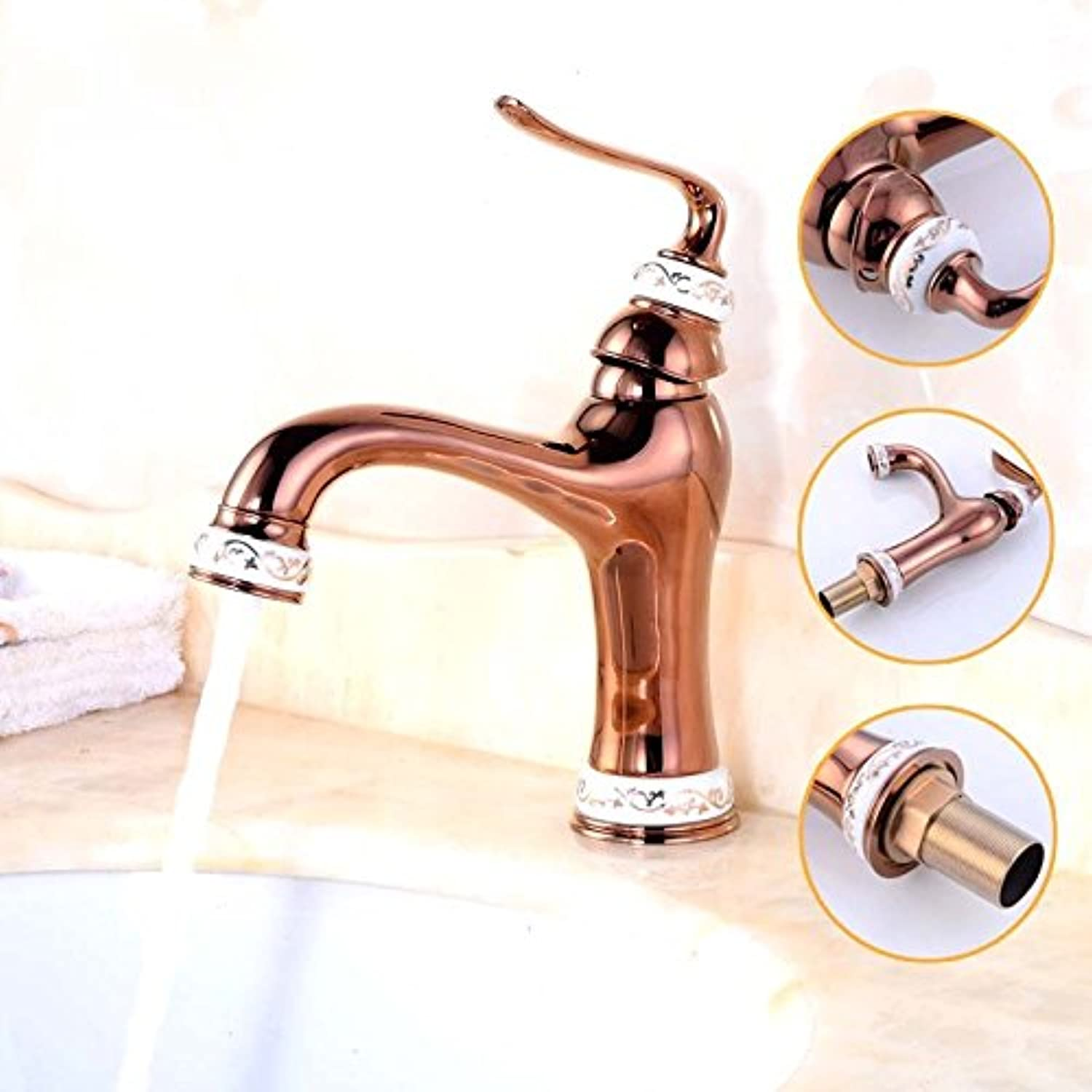 MIAORUI European style copper pan basin faucet Antique plating gold jade mixed water faucet bluee and white porcelain basin hot and cold water faucet,玫瑰金花纹陶瓷