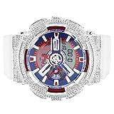 Mens GA110TR Custom Bezel ICY Red Blue Face G Shock White Resin Band Wrist Watch