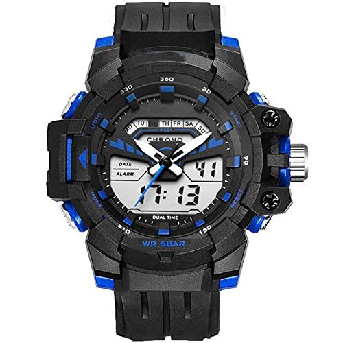 New Men's Watch Single Pantalla Multifunción Impermeable Deportes Reloj electrónico para Estudiantes de Secundaria, Reloj de la Juventud Luminoso Impermeable Diario, Blue