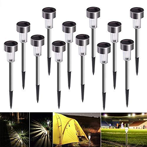 HDJLI Outdoor Garten Stehlampe, 12 Stück Schnurlose Gartenlampe LED Dekoration Outdoor Solar Beleuchtung Für Wege Rasen Wasserdicht IP65 Kaltweißes Licht