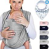 Babytragetuch aus 100% Baumwolle - Hellgrau – hochwertiges Baby-Tragetuch für Neugeborene und Babys bis 15 kg – inkl. Baby-Lätzchen