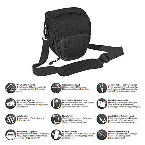 Pedea DSLR-Kameratasche Fashion Fototasche für Spiegelreflexkameras mit wasserdichtem Regenschutz (Größe M, schwarz) & Amazon Basics– Leichtes Kamera-Dreibeinstativ mit Tasche, 41,91–127cm