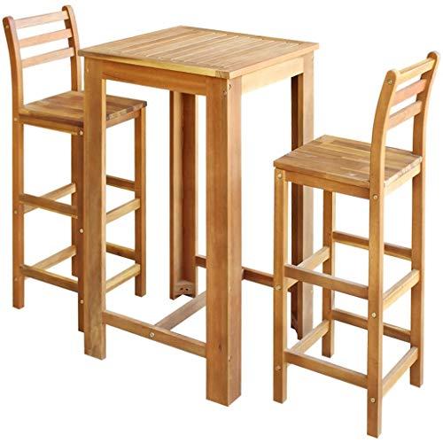 Festnight Bartisch und Hocker-Set 3-TLG. | Stehtisch mit Stühlen | Küchenbartisch mit 2 Barhocker | Bistrotisch mit Stühlen Set | Tresentisch mit Barhocker | Massives Akazienholz