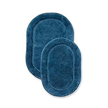 Superior Non-Slip Bath Rug 2-Pack, Ultra Plush, Soft, and Absorbent 100% Combed Cotton Pile - Traditional Oval Bath Mat Set, Sapphire