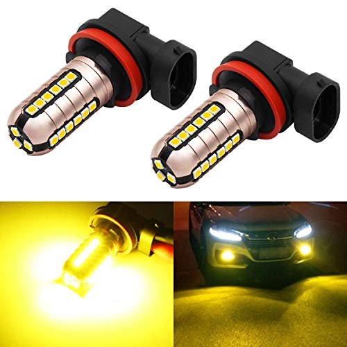 Phinlion 3000 Lumens Golden Yellow H11 LED Fog Light Bulbs Super Bright 3030 27-SMD H8 H16 LED Bulb Replacement for DRL or Fog Lamps, 3000K Yellow