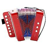 Atyhao EU Mini accordéon pour Bas de 7Touches pour Enfants Instrument didactique Jouet rítmico L éducation d'éclairage d'Instruments de Musique Rouge
