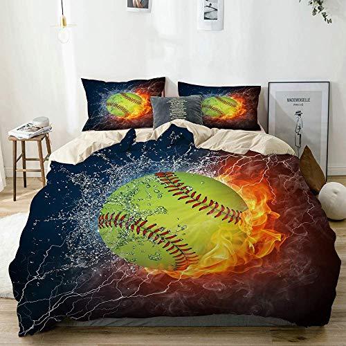 772 AQL Parure de lit avec Housse de Couette en Microfibre,Balle de Baseball sur Le feu et l'eau,Housse de Couette 200cm x 200cm avec 2 taies