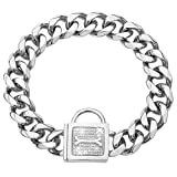 Dog Collar with Zirconia Locking 19MM Hand Polished Stainless Steel...