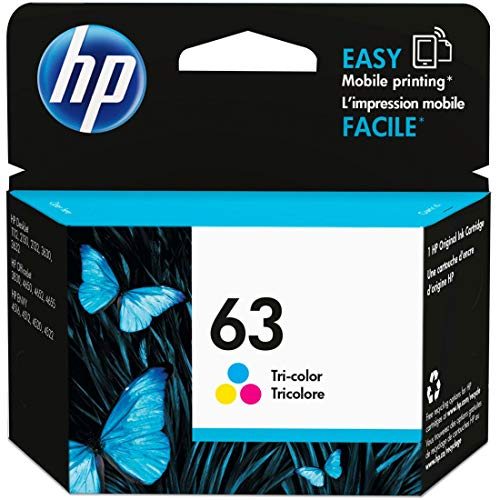 HP 63 | Ink Cartridge | Works with HP Deskjet 1112, 2100 Series, 3600 Series, HP ENVY 4500 Series, HP OfficeJet 3800 Series, 4600 Series, 5200 Series | Tri-color | F6U61AN