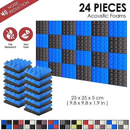 Super Dash Akustische Pyramidenschaumstoff-Schalldämmplatten für das Studio zu Hause, 25x 25x 5cm, 24 Stück, SD1034, blau/schwarz, 25 x 25 x 5 cm