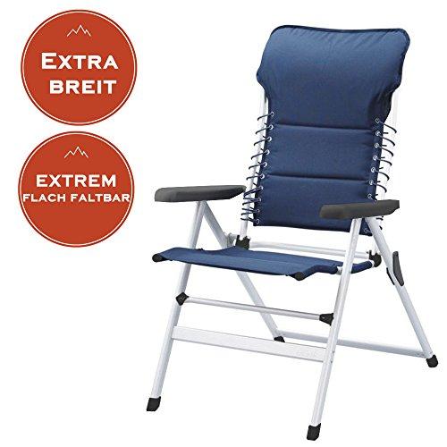 Faltbarer Campingstuhl mit extra breiter Sitzfläche, auch als Gartenliegestuhl nutzbar, blau