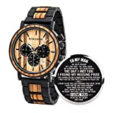 BOBO BIRD Mens Personalized Engraved Wooden Watches, Stylish Wood & Stainless Steel Combined Quartz Casual Wristwatches for Men Family Friends Customized Watch (A-Lover for Man)