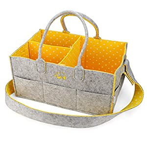"""Baby Diaper Caddy Nursery Organizer – Portable Changing Table Organizer and Diaper Stacker – Cute Gift for Registry for Baby Shower (15"""" x 10"""" x 7"""") (Yellow)"""