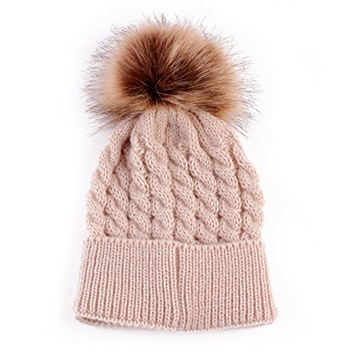 oenbopo Baby Winter Warm Knit Hat Infant Toddler Kid Crochet Fur Hairball Beanie Cap Khaki