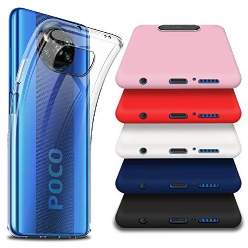 crisnat 6 Piezas Funda para Poco X3 NFC, Uno Transparente y Cinco Vistoso(Negro,Blanco,Rosado,Rojo,Azul) Suave TPU Silicona Carcasa para Xiaomi Poco X3 NFC 6.67''