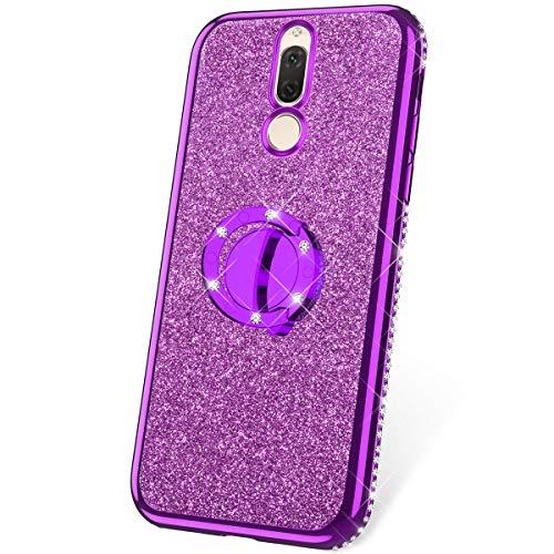 JAWSEU Funda Compatible con Huawei Mate 10 Lite/Maimang 6 Brillante Brillo Suave Silicona TPU Gel Funda con Anillo Bling Diamantes Ultra-Delgada Enchapado Transparente Protectora Carcasa,Púrpura