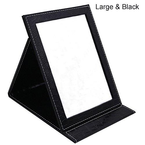 toim Tragbarer, faltbarer Kosmetikspiegel mit Ständer, klappbar Spiegel Make-up Spiegel Kommode faltbar Spiegel Make-up Werkzeug und Zubehör, schwarz, Large