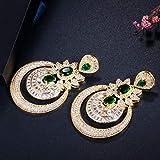 SALAN Zirconi Dubai 18k Oro Giallo Bigiotteria Vintage Verde Smeraldo Lungo Grande Goccia Orecchini da Festa di Nozze per Le Donne