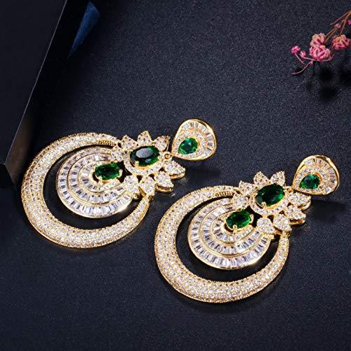SALAN Zircons Dubai 18k Oro Amarillo Vintage Bisutería Verde Esmeralda Largos Pendientes De Fiesta De Boda con Gota Grande para Mujer