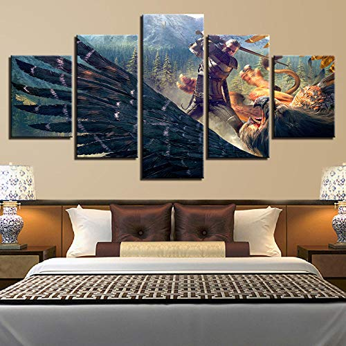 CHUADIAD Cuadros Impresos en Lienzo Arte de Pared para el hogar 5 Piezas The Witcher 3: Pintura de Caza Salvaje para decoración de Sala de Estar póster de Juego Modular-Sin Marco