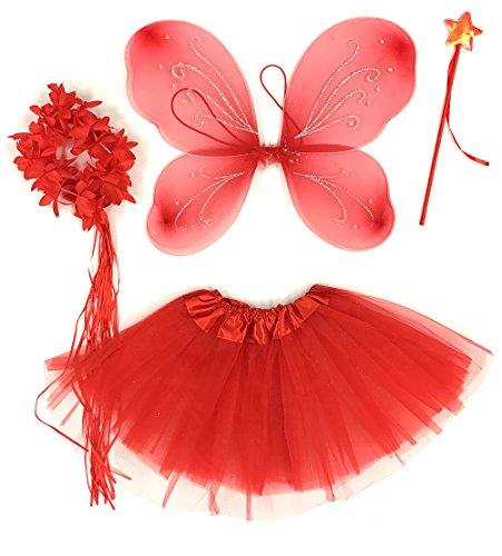 Tante Tina Schmetterling Kostüm Mädchen - 4-teiliges Mädchen Kostüm Schmetterling mit Tüllrock , Flügel , Zauberstab und Haarkranz - Rot - geeignet für Kinder von 2 bis 8 Jahren